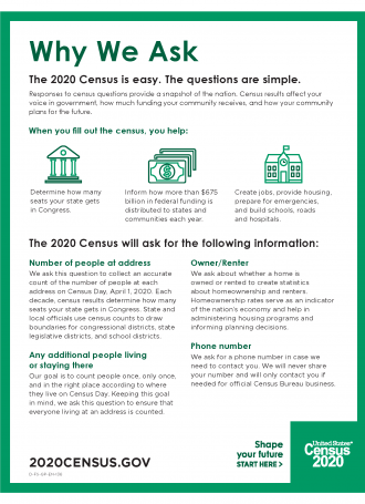 English.Handout About Why We Ask Each 2020Census Question Page 1