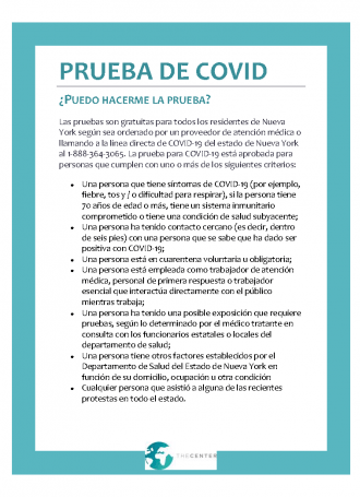 Spanish.COVID Testing Info The Center Page 1