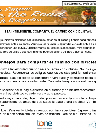 TS. BS. Spanish. Bicycle Safety Share the Road Rev 2019 Page 1